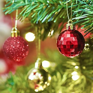 Kaishuai 48 Stück 40mm Gold deko Christbaumkugeln Set in 4 Farben, Weihnachtsbaumkugeln Gold aus & Rot Baumschmuck Weihnachtsbaum Deko&Christbaumschmuck,Bruchsicher,Christbaumkugeln Plastik - 4