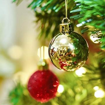 Kaishuai 48 Stück 40mm Gold deko Christbaumkugeln Set in 4 Farben, Weihnachtsbaumkugeln Gold aus & Rot Baumschmuck Weihnachtsbaum Deko&Christbaumschmuck,Bruchsicher,Christbaumkugeln Plastik - 5