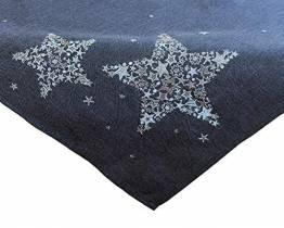 Kamaca Mitteldecke Sternen Zauber in anthrazit mit Bezaubernder Stickerei in Silber - EIN Eyecatcher in Herbst Winter Weihnachten (Tischdecke 85x85 cm) - 1
