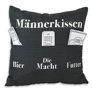 Kamaca Originelles Dekokissen Kissen mit 3 Taschen zum selber Befüllen Größe 43x43 cm tolles Geschenk für EIN gelungenen Sofaabend Filmabend (Männer - Kissen) - 3