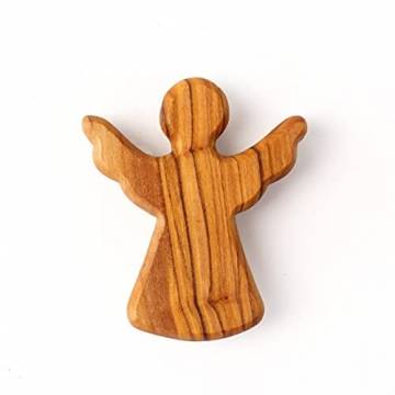 KASSIS Olivenholz Schutzengel Glücksbringer Handschmeichler Engel Figur Weihnachtsdeko Geschenk zur Geburt Taufe Kommunion Firmung Jahrestag handgemacht in Bethlehem 6 cm (1 Stück) - 1