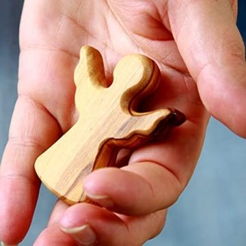 KASSIS Olivenholz Schutzengel Glücksbringer Handschmeichler Engel Figur Weihnachtsdeko Geschenk zur Geburt Taufe Kommunion Firmung Jahrestag handgemacht in Bethlehem 6 cm (1 Stück) - 5