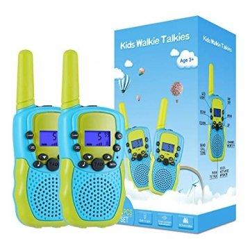 Kearui Spielzeug 3-12 Jahren Junge, Walkie Talkies für Kinder 8 Kanal Funkgerät mit Hintergrundbeleuchteter LCD-Taschenlampe, 3 Meilen Reichweite für Abenteuer im Freien, Camping, Wandern - 1