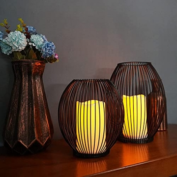 Kerzenständer, Oval Kerzenhalter 2er Set, Metall Laterne Kerzenständer, Kreativ Modern Eisen Kerzenleuchter, Vintage Kerzen Ständer für Wohnzimmer Schlafzimmer, Esstisch Deko Tischdeko, Schwarz - 3