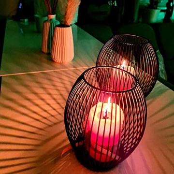 Kerzenständer, Oval Kerzenhalter 2er Set, Metall Laterne Kerzenständer, Kreativ Modern Eisen Kerzenleuchter, Vintage Kerzen Ständer für Wohnzimmer Schlafzimmer, Esstisch Deko Tischdeko, Schwarz - 4