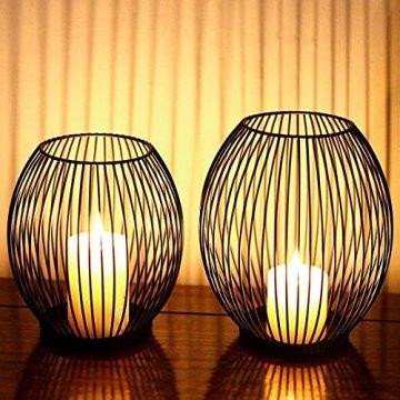 Kerzenständer, Oval Kerzenhalter 2er Set, Metall Laterne Kerzenständer, Kreativ Modern Eisen Kerzenleuchter, Vintage Kerzen Ständer für Wohnzimmer Schlafzimmer, Esstisch Deko Tischdeko, Schwarz - 1