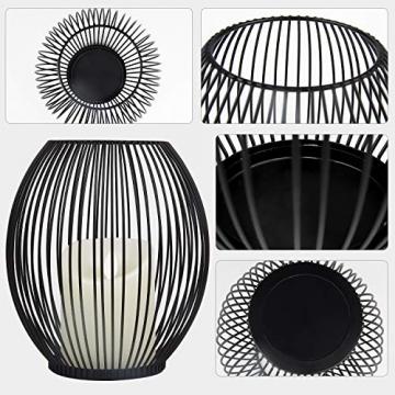 Kerzenständer Schwarz Oval 2er Set, 14 * 17/16 * 19cm, Vernetzartig aus Eisen, Kreativ Vintage Kerzen Ständer für Weihnachts Hochzeit Essen - 6