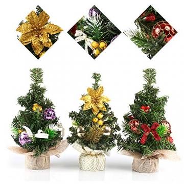 Kesote 3X Weihnachtsbaum Künstlich Klein Tannenbaum Geschmückt Christbaum Mini Weihnachtsdeko Advent Weihnachten (22 x 11 cm) - 3