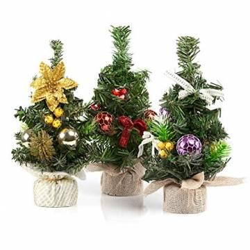 Kesote 3X Weihnachtsbaum Künstlich Klein Tannenbaum Geschmückt Christbaum Mini Weihnachtsdeko Advent Weihnachten (22 x 11 cm) - 1