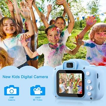"""Kinder Kamera, 2.0""""Display 1080P HD GREPRO Digitalkamera für 4 5 6 8 7 9 10 Jahre alt mädchen und Jungen, Anti-Drop Fotoapparat Kinder für Geburtstagsspielzeug Geschenke mit Weiche Silikonhülle Blau - 2"""