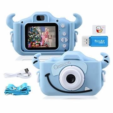 """Kinder Kamera, 2.0""""Display 1080P HD GREPRO Digitalkamera für 4 5 6 8 7 9 10 Jahre alt mädchen und Jungen, Anti-Drop Fotoapparat Kinder für Geburtstagsspielzeug Geschenke mit Weiche Silikonhülle Blau - 1"""
