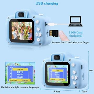 """Kinder Kamera, 2.0""""Display 1080P HD GREPRO Digitalkamera für 4 5 6 8 7 9 10 Jahre alt mädchen und Jungen, Anti-Drop Fotoapparat Kinder für Geburtstagsspielzeug Geschenke mit Weiche Silikonhülle Blau - 5"""