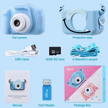 """Kinder Kamera, 2.0""""Display 1080P HD GREPRO Digitalkamera für 4 5 6 8 7 9 10 Jahre alt mädchen und Jungen, Anti-Drop Fotoapparat Kinder für Geburtstagsspielzeug Geschenke mit Weiche Silikonhülle Blau - 6"""