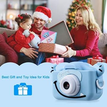 """Kinder Kamera, 2.0""""Display 1080P HD GREPRO Digitalkamera für 4 5 6 8 7 9 10 Jahre alt mädchen und Jungen, Anti-Drop Fotoapparat Kinder für Geburtstagsspielzeug Geschenke mit Weiche Silikonhülle Blau - 7"""