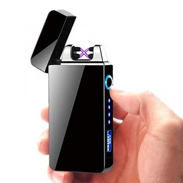KIPIDA USB Elektronische Feuerzeug, Lichtbogen Feuerzeug, Touchscreen Elektro Feuerzeug LED Dual Lichtbogen ARC Feuerzeug mit Batterieanzeige Winddicht Plasma Feuerzeug für Männer Damen Geschenk - 2