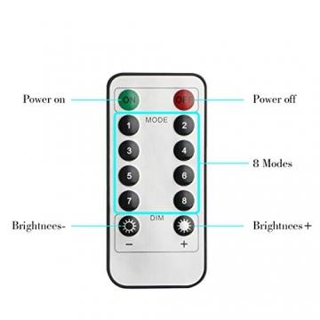 Koopower 2 Stk 100er LED Lichterkette Batterie mit Fernbedienung & Timer, 8 Modi IP65 Wasserdicht, Sternen Lichterketten für Weihnacht,Hochzeit,Party,Garten und Haus Deko-Warmweiß, 2er, HG4020 - 3