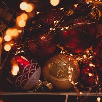 Koopower 2 Stk 100er LED Lichterkette Batterie mit Fernbedienung & Timer, 8 Modi IP65 Wasserdicht, Sternen Lichterketten für Weihnacht,Hochzeit,Party,Garten und Haus Deko-Warmweiß, 2er, HG4020 - 4