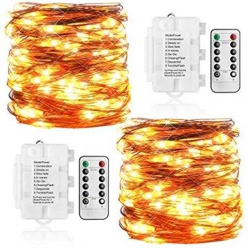 Koopower 2 Stk 100er LED Lichterkette Batterie mit Fernbedienung & Timer, 8 Modi IP65 Wasserdicht, Sternen Lichterketten für Weihnacht,Hochzeit,Party,Garten und Haus Deko-Warmweiß, 2er, HG4020 - 1