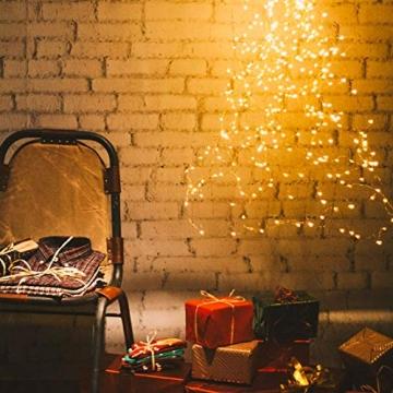Koopower 2 Stk 100er LED Lichterkette Batterie mit Fernbedienung & Timer, 8 Modi IP65 Wasserdicht, Sternen Lichterketten für Weihnacht,Hochzeit,Party,Garten und Haus Deko-Warmweiß, 2er, HG4020 - 5