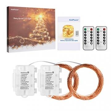 Koopower 2 Stk 100er LED Lichterkette Batterie mit Fernbedienung & Timer, 8 Modi IP65 Wasserdicht, Sternen Lichterketten für Weihnacht,Hochzeit,Party,Garten und Haus Deko-Warmweiß, 2er, HG4020 - 9