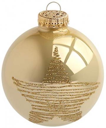Krebs & Sohn 20er Set Glas Christbaumkugeln-Weihnachtsbaum Deko zum Aufhängen-Weihnachtskugeln 5,7 cm, Gold/Elfenbein, (5, 7cm Ø Durchmesser) - 2