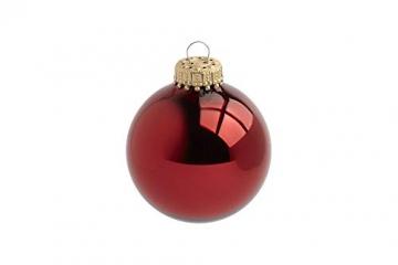 Krebs & Sohn 20er Set Glas Christbaumkugeln-Weihnachtsbaum Deko zum Aufhängen-Weihnachtskugeln 5,7 cm-Bordeaux, Rot/Sterne, (5,7cm Ø Durchmesser) - 5