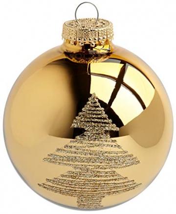 Krebs & Sohn 20er Set Glas Christbaumkugeln-Weihnachtsbaum Deko zum Aufhängen-Weihnachtskugeln 5,7 cm, Gold/Elfenbein, (5, 7cm Ø Durchmesser) - 3