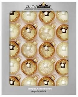 Krebs & Sohn 20er Set Glas Christbaumkugeln-Weihnachtsbaum Deko zum Aufhängen-Weihnachtskugeln 5,7 cm, Gold/Elfenbein, (5, 7cm Ø Durchmesser) - 1