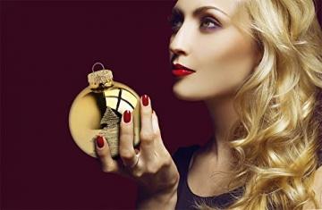Krebs & Sohn 20er Set Glas Christbaumkugeln-Weihnachtsbaum Deko zum Aufhängen-Weihnachtskugeln 5,7 cm, Gold/Elfenbein, (5, 7cm Ø Durchmesser) - 4