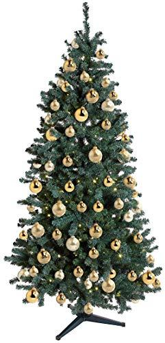 Krebs & Sohn 20er Set Glas Christbaumkugeln-Weihnachtsbaum Deko zum Aufhängen-Weihnachtskugeln 5,7 cm, Gold/Elfenbein, (5, 7cm Ø Durchmesser) - 5