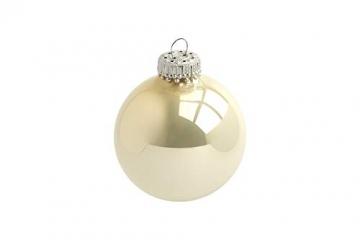 Krebs & Sohn 20er Set Glas Christbaumkugeln-Weihnachtsbaum Deko zum Aufhängen-Weihnachtskugeln 5,7 cm, Gold/Elfenbein, (5, 7cm Ø Durchmesser) - 6