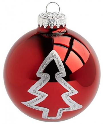 Krebs & Sohn 20er Set Glas Christbaumkugeln-Weihnachtsbaum Deko zum Aufhängen-Weihnachtskugeln 5,7 cm-Bordeaux, Rot/Sterne, (5,7cm Ø Durchmesser) - 2