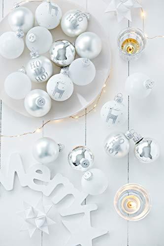 KREBS & SOHN 20er Set Glaskugeln - Weihnachtsbaumschmuck zum Aufhängen - Christbaumkugeln - Weiß, Silber und Glitzer, Silber/Weiss/Frost, 5,7 cm, 1007223 - 4