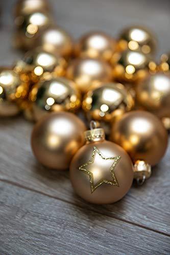KREBS & SOHN Set Weihnachtskugeln aus Glas 5,7 cm - Christbaumschmuck Christbaumkugeln Weihnachtsdeko - 20-teilig, Gold, Sterne - 2