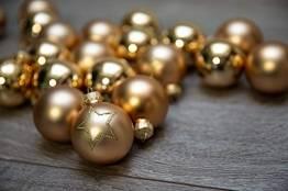 KREBS & SOHN Set Weihnachtskugeln aus Glas 5,7 cm - Christbaumschmuck Christbaumkugeln Weihnachtsdeko - 20-teilig, Gold, Sterne - 1