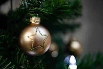 KREBS & SOHN Set Weihnachtskugeln aus Glas 5,7 cm - Christbaumschmuck Christbaumkugeln Weihnachtsdeko - 20-teilig, Gold, Sterne - 7