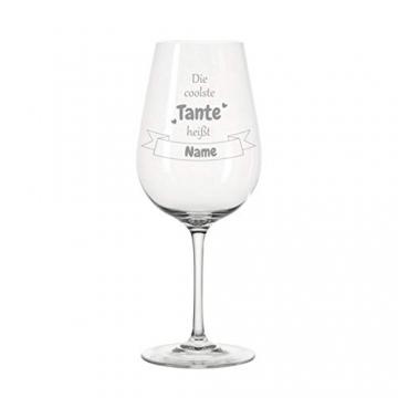 KS Laserdesign Leonardo Weinglas '' die coolste Tante heißt Wunschname '' - persönliche Gravur, Weinglas mit Spruch, Geschenke, Geburtstag, Weihnachten - 2