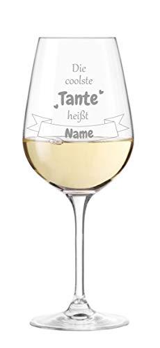 KS Laserdesign Leonardo Weinglas '' die coolste Tante heißt Wunschname '' - persönliche Gravur, Weinglas mit Spruch, Geschenke, Geburtstag, Weihnachten - 1