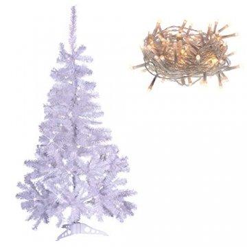 künstlicher Weihnachtsbaum weiß mit Glitzereffekt Christbaum Tannenbaum 120 cm mit Ständer zzgl. 100 LED Lichterkette warmweiß Weihnachtsdeko - 1