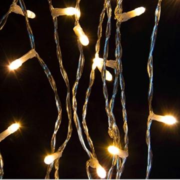 künstlicher Weihnachtsbaum weiß mit Glitzereffekt Christbaum Tannenbaum 120 cm mit Ständer zzgl. 100 LED Lichterkette warmweiß Weihnachtsdeko - 5