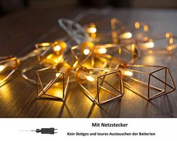 Kupfer geometrische LED Lichterkette – 4 Meter | Mit Netzstecker NICHT batterie-betrieben | 10 LEDs warm-weiß | rose gold pyramidenform - kein austauschen der Batterien | Rosegold Deko von CozyHome - 2