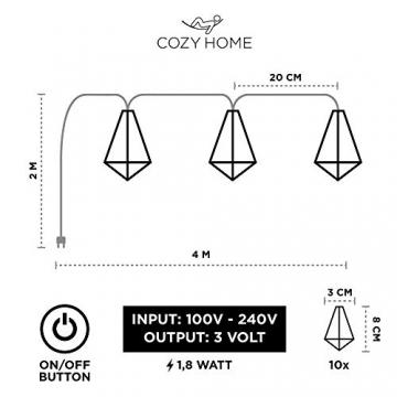 Kupfer geometrische LED Lichterkette – 4 Meter | Mit Netzstecker NICHT batterie-betrieben | 10 LEDs warm-weiß | rose gold pyramidenform - kein austauschen der Batterien | Rosegold Deko von CozyHome - 4