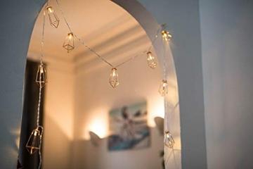 Kupfer geometrische LED Lichterkette – 4 Meter | Mit Netzstecker NICHT batterie-betrieben | 10 LEDs warm-weiß | rose gold pyramidenform - kein austauschen der Batterien | Rosegold Deko von CozyHome - 5
