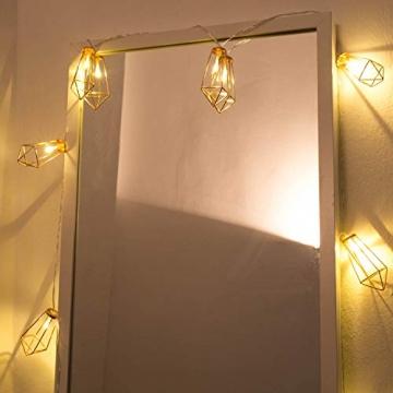 Kupfer geometrische LED Lichterkette – 4 Meter | Mit Netzstecker NICHT batterie-betrieben | 10 LEDs warm-weiß | rose gold pyramidenform - kein austauschen der Batterien | Rosegold Deko von CozyHome - 6