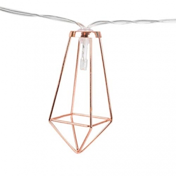 Kupfer geometrische LED Lichterkette – 4 Meter | Mit Netzstecker NICHT batterie-betrieben | 10 LEDs warm-weiß | rose gold pyramidenform - kein austauschen der Batterien | Rosegold Deko von CozyHome - 7