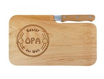LASERHELD Brotzeitbrett Holz Erle Messer, Bester Opa der Welt, Geschenk Männer, Schneidbrett Holz, Geschenkidee für Opa - 2