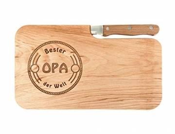 LASERHELD Brotzeitbrett Holz Erle Messer, Bester Opa der Welt, Geschenk Männer, Schneidbrett Holz, Geschenkidee für Opa - 1