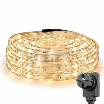 LE 10m LED Lichterschlauch 240 LEDs wasserfest Warmweiß für Innen Außen Party Hochzeit Weihnachten Dekolicht Warmweiß - 1
