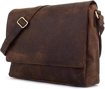 LEABAGS Oxford Umhängetasche Laptoptasche 15 Zoll aus Leder im Vintage Look, Maße (BxHxT): ca. 38x31x10 cm, Braun Like Muskat - 3