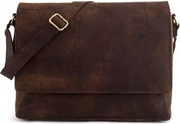 LEABAGS Oxford Umhängetasche Laptoptasche 15 Zoll aus Leder im Vintage Look, Maße (BxHxT): ca. 38x31x10 cm, Braun Like Muskat - 1